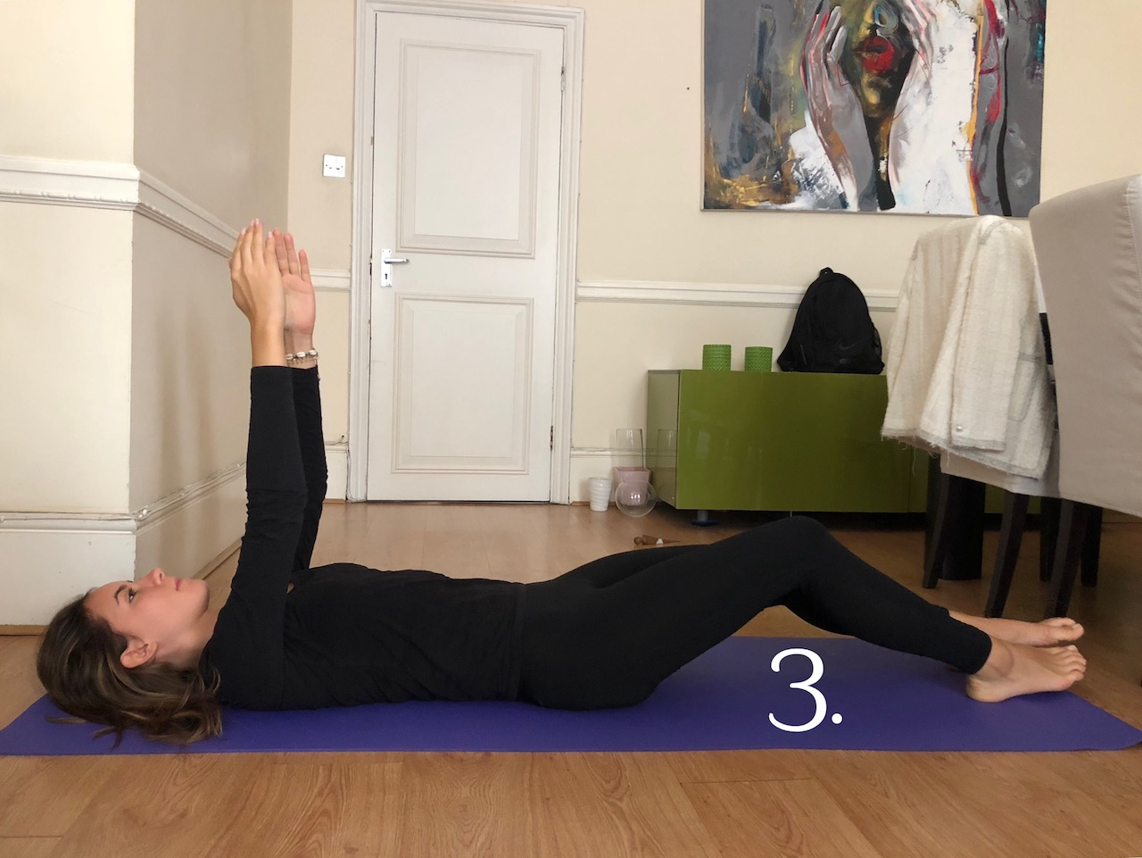 arms up single leg knee up abs